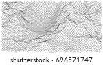 wireframe polygonal landscape.... | Shutterstock .eps vector #696571747