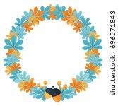 autumn botanical wreath  for... | Shutterstock .eps vector #696571843