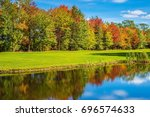 red and yellow autumn foliage... | Shutterstock . vector #696574633