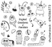 magical creatures and monsters. ... | Shutterstock .eps vector #696586573