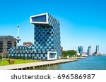Small photo of Rotterdam, The Netherlands - July 18, 2016:The modern architectures of the Shipping and Transport College on the Maas river bank