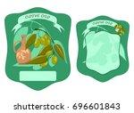 olive oil front and back label  ... | Shutterstock .eps vector #696601843