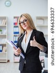 young office assistant in the...   Shutterstock . vector #696633337