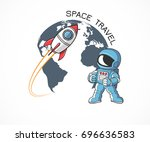 image including astronaut... | Shutterstock .eps vector #696636583