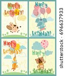 vector greeting cards with... | Shutterstock .eps vector #696637933