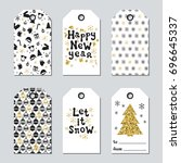 christmas and new year gift... | Shutterstock .eps vector #696645337
