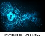 cyber security concept  shield... | Shutterstock .eps vector #696645523