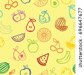 pictograph of fruits pattern... | Shutterstock .eps vector #696647677