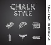 hand drawn meal sketches set.... | Shutterstock .eps vector #696649453