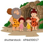 cartoon caveman family with... | Shutterstock .eps vector #696650017