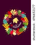 i love autumn background with... | Shutterstock .eps vector #696652177