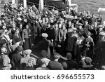 large group of people gathered... | Shutterstock . vector #696655573