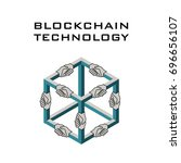 poster with block chain shape... | Shutterstock .eps vector #696656107