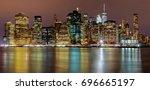 manhattan night new york city... | Shutterstock . vector #696665197
