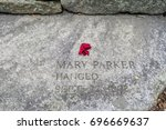 Small photo of Salem, Massachusetts,USA - September 14, 2016: In 1692, 14 women and 6 men were falsely accused, found guilty by trial, and then executed as a witch. This is one of the twenty memorial slabs .