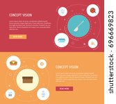 flat icons fast food  omelette  ... | Shutterstock .eps vector #696669823