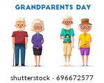 happy grandparents. vector... | Shutterstock .eps vector #696672577