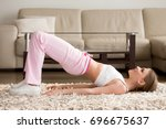 joyful attractive young woman... | Shutterstock . vector #696675637