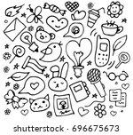 set of trendy doodle hand drawn ...   Shutterstock .eps vector #696675673