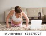 young fit woman in sportswear... | Shutterstock . vector #696675727