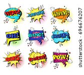 comic speech chat bubble set... | Shutterstock .eps vector #696676207