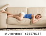 tired funny young woman in... | Shutterstock . vector #696678157