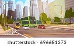 city street skyscraper... | Shutterstock .eps vector #696681373