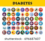 diabetes icons set. vector... | Shutterstock .eps vector #696687607