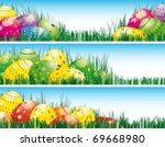 Easter Banners With Colorful...