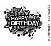 happy birthday doodles. vector... | Shutterstock .eps vector #696703513