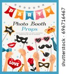 colored photo booth party props ... | Shutterstock .eps vector #696716467