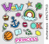 set of colorful cartoon badges. ... | Shutterstock .eps vector #696717913