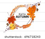 hello autumn background with... | Shutterstock .eps vector #696718243