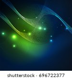 3d illuminated wave of glowing...   Shutterstock . vector #696722377