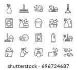 cleaning line icons. laundry ... | Shutterstock .eps vector #696724687