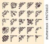 vintage ornamental corner... | Shutterstock .eps vector #696726613