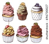 hand drawn colorful cupcakes ... | Shutterstock .eps vector #696730027
