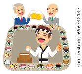 illustration of sushi bar... | Shutterstock .eps vector #696742147