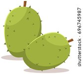 two durian tropical exotic...   Shutterstock .eps vector #696745987