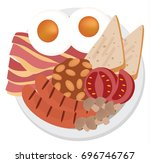 english breakfast vector | Shutterstock .eps vector #696746767