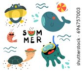summer set with cute sea... | Shutterstock .eps vector #696757003