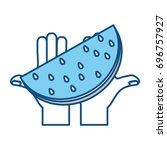 delicious watermelon fruit | Shutterstock .eps vector #696757927