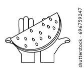 delicious watermelon fruit | Shutterstock .eps vector #696759247