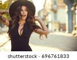 portrait of gorgeous glam... | Shutterstock . vector #696761833