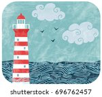 vector vintage illustration... | Shutterstock .eps vector #696762457