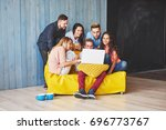 group of creative young friends ... | Shutterstock . vector #696773767