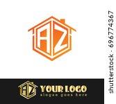 initial letter az linked logo ... | Shutterstock .eps vector #696774367