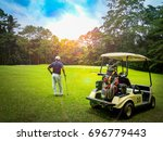 golf concept. golf cart and... | Shutterstock . vector #696779443