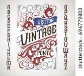 vintage label font. alcohol... | Shutterstock .eps vector #696779803