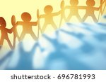 team of paper chain people... | Shutterstock . vector #696781993